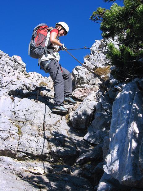 Foto: Andreas Koller / Klettersteig Tour / Klettersteig Mandlgrat / Mannlgrat auf den Hohen Göll (2522m) / Die gesicherten Passagen beginnen / 30.10.2008 17:25:42