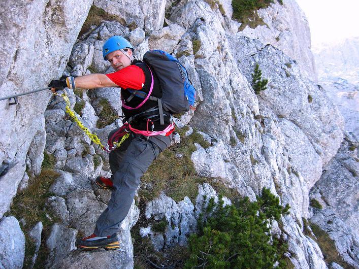 Foto: Andreas Koller / Klettersteig Tour / Klettersteig Mandlgrat / Mannlgrat auf den Hohen Göll (2522m) / Erste luftige Passage / 30.10.2008 17:24:57