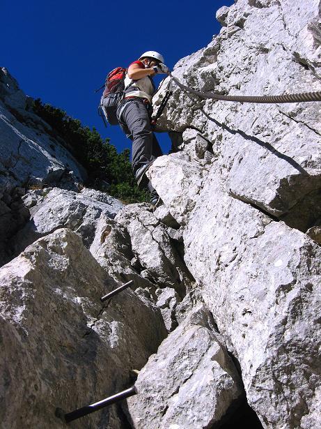 Foto: Andreas Koller / Klettersteig Tour / Klettersteig Mandlgrat / Mannlgrat auf den Hohen Göll (2522m) / Ausgesetzte Scharte / 30.10.2008 17:21:23