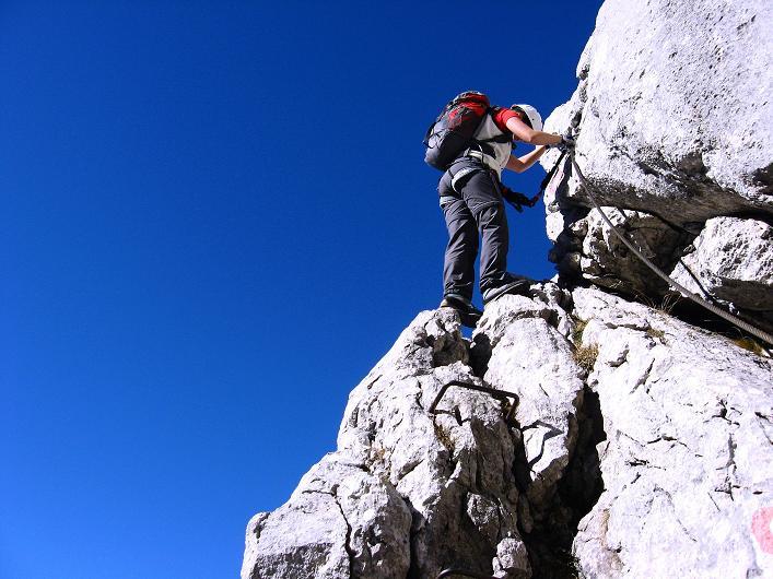 Foto: Andreas Koller / Klettersteig Tour / Klettersteig Mandlgrat / Mannlgrat auf den Hohen Göll (2522m) / Luftige Passage / 30.10.2008 17:20:02