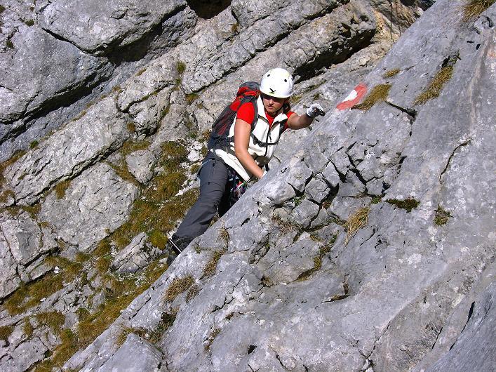 Foto: Andreas Koller / Klettersteig Tour / Klettersteig Mandlgrat / Mannlgrat auf den Hohen Göll (2522m) / Abschüssige Platten, die bei Nässe sehr unangenehm sind / 30.10.2008 17:18:40