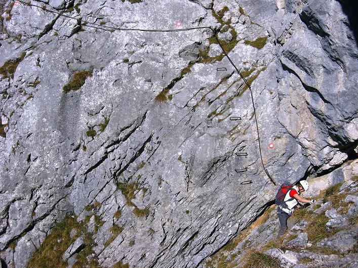 Foto: Andreas Koller / Klettersteig Tour / Klettersteig Mandlgrat / Mannlgrat auf den Hohen Göll (2522m) / Steile und ausgesetzte Passage im Mittelteil / 30.10.2008 17:17:26