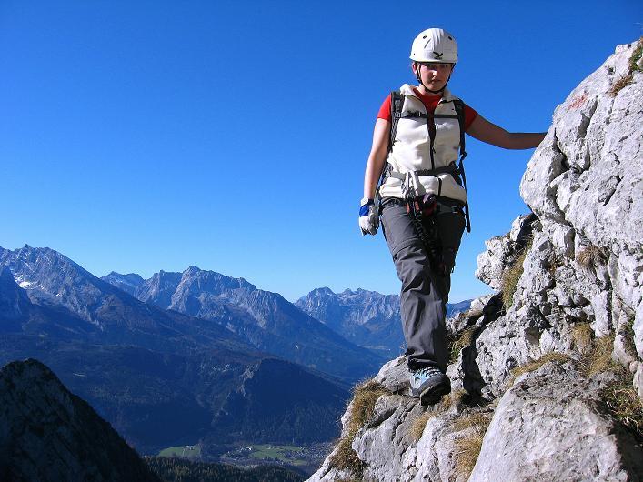Foto: Andreas Koller / Klettersteig Tour / Klettersteig Mandlgrat / Mannlgrat auf den Hohen Göll (2522m) / Ausgesetzte Passage im mittleren Abschnitt  / 30.10.2008 17:16:31