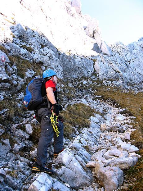 Foto: Andreas Koller / Klettersteig Tour / Klettersteig Mandlgrat / Mannlgrat auf den Hohen Göll (2522m) / Kurzes Gehgelände zum furiosen Wand-/Kaminfinale / 30.10.2008 17:15:36
