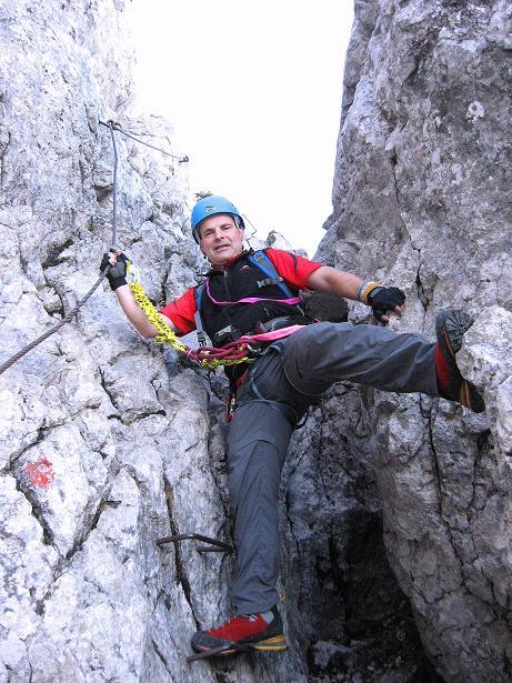 Foto: Andreas Koller / Klettersteig Tour / Klettersteig Mandlgrat / Mannlgrat auf den Hohen Göll (2522m) / Im Kamin / 30.10.2008 17:13:00