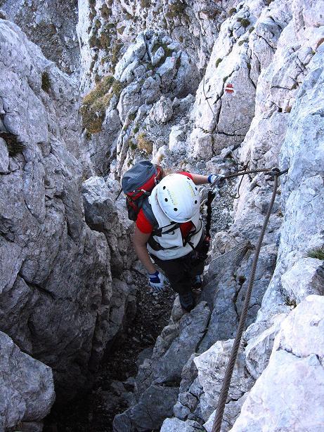 Foto: Andreas Koller / Klettersteig Tour / Klettersteig Mandlgrat / Mannlgrat auf den Hohen Göll (2522m) / Der steile Ausstiegskamin / 30.10.2008 17:12:26