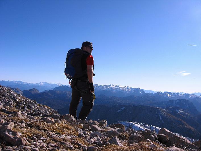 Foto: Andreas Koller / Klettersteig Tour / Klettersteig Mandlgrat / Mannlgrat auf den Hohen Göll (2522m) / Blick vom Hohen Göll nach S zum Hochkönig (2943 m) / 30.10.2008 17:08:44