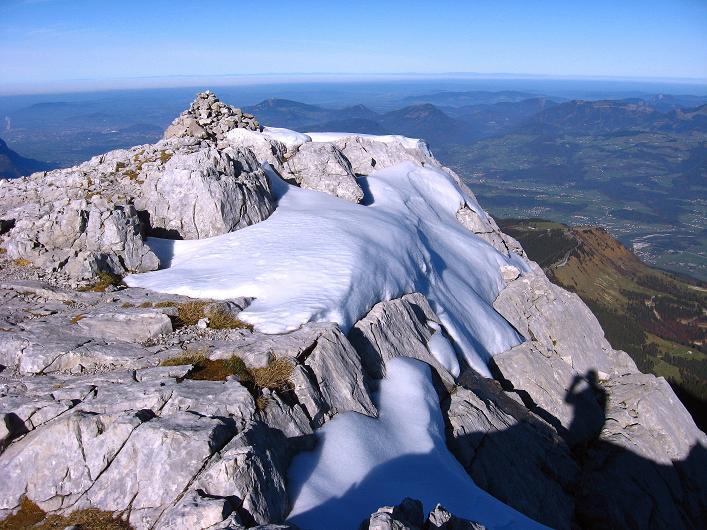 Foto: Andreas Koller / Klettersteig Tour / Klettersteig Mandlgrat / Mannlgrat auf den Hohen Göll (2522m) / Blick vom Gipfel Richtung Salzburg im N / 30.10.2008 17:06:35