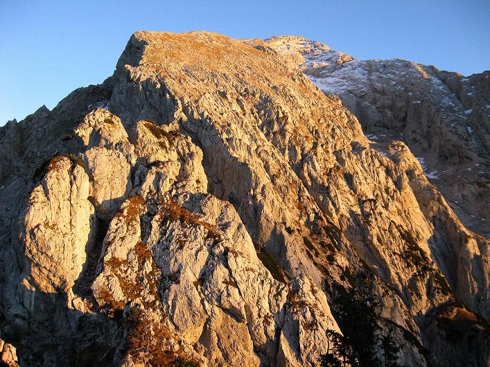 Foto: Andreas Koller / Klettersteig Tour / Klettersteig Mandlgrat / Mannlgrat auf den Hohen Göll (2522m) / Der Hohe Göll im Abendrot / 30.10.2008 17:03:14