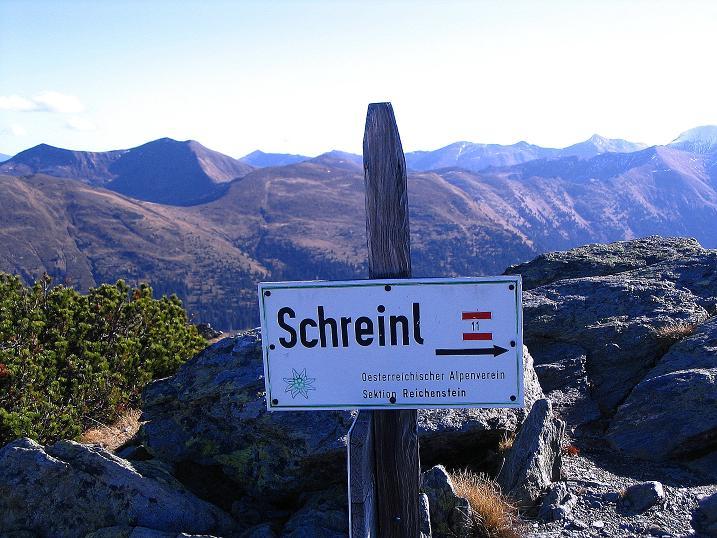 Foto: Andreas Koller / Wander Tour / Kammwanderung zum Schreinl (2154m) / Wegweiser zum Schreinl / 04.11.2008 11:09:54