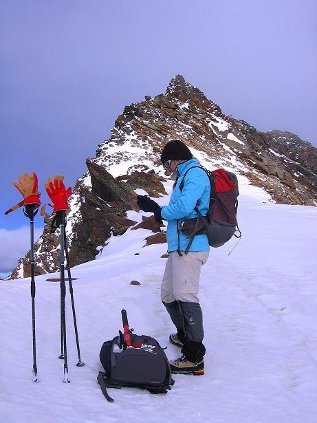 Foto: Andreas Koller / Wander Tour / Über den Tiefenbachferner auf die Innere Schwarze Schneide (3370m) / Am Tiefenbach Joch mit Blick zum steilen S-Grat der Inneren Schwarzen Schneide / 10.11.2008 22:45:36