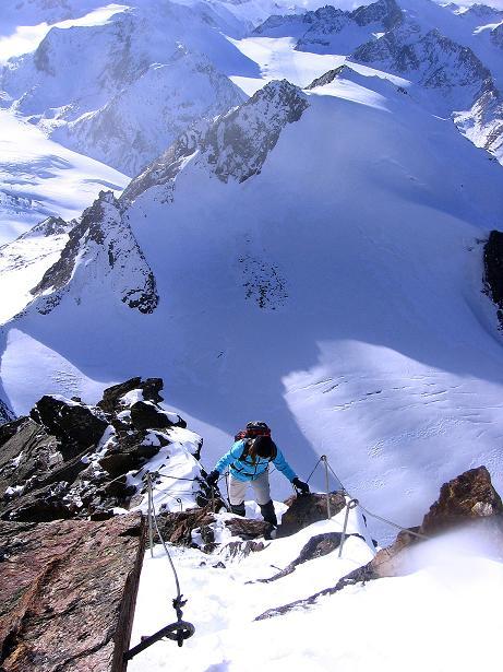 Foto: Andreas Koller / Wander Tour / Über den Tiefenbachferner auf die Innere Schwarze Schneide (3370m) / Ausgesetzte Stelle am S-Grat / 10.11.2008 22:41:24