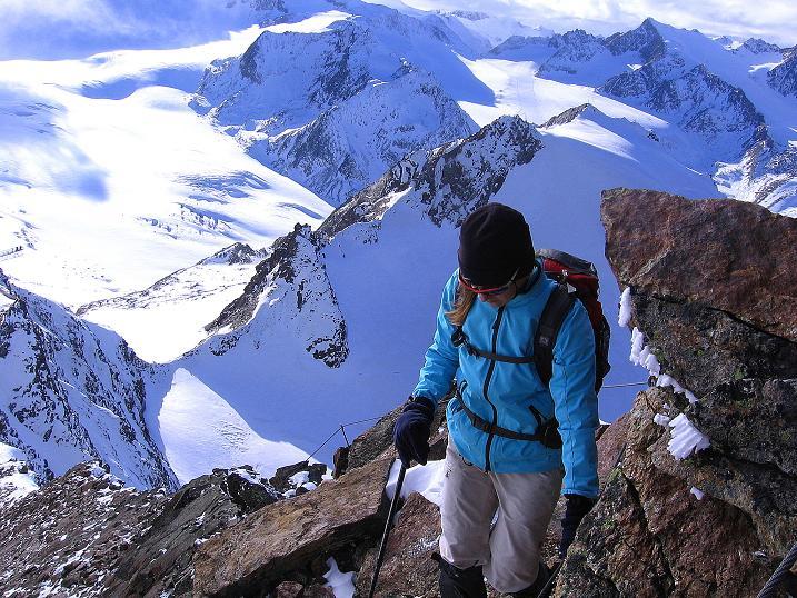 Foto: Andreas Koller / Wander Tour / Über den Tiefenbachferner auf die Innere Schwarze Schneide (3370m) / Am S-Grat / 10.11.2008 22:40:33
