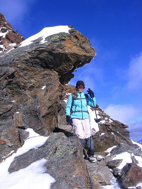 Foto: Andreas Koller / Wander Tour / Über den Tiefenbachferner auf die Innere Schwarze Schneide (3370m) / Am S-Grat im Abstieg / 10.11.2008 22:34:08