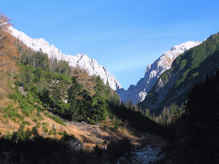 Foto: Andreas Koller / Klettersteig Tour / Klettersteig auf die Wankspitze (2219m) / Anstieg am Bachweg mit Blick zum Grünstein (2661 m) und zu den Griesspitzen (2741 m) / 12.11.2008 01:15:11