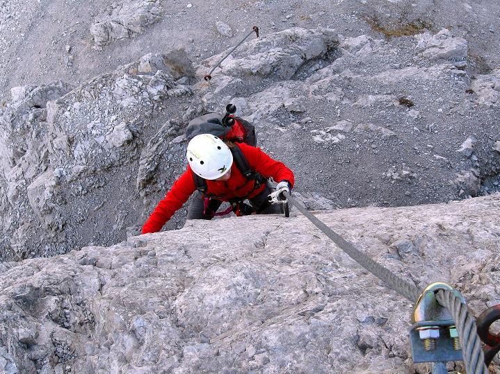 Foto: Andreas Koller / Klettersteig Tour / Klettersteig auf die Wankspitze (2219m) / Die zweite sehr glatte und steile Platte (Schlüsselstelle - C) / 12.11.2008 01:08:55
