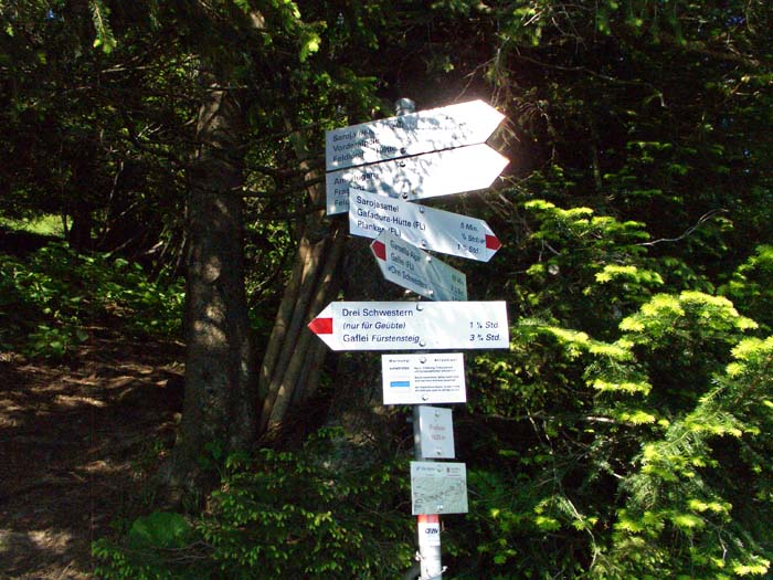 Foto: vince 51 / Wander Tour / Auf die Drei Schwestern / Wegweiser bei Wegteilung / 14.11.2008 22:01:28