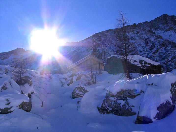 Foto: Andreas Koller / Ski Tour / Vom Falkertsee auf den Falkert (2308m) / Sonne über der Moschelitzen (2310 m) / 24.11.2008 23:05:48
