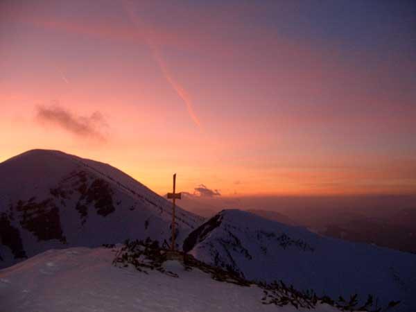 Foto: Datzi / Schneeschuh Tour / Rundtour Göller (Biwak) - Gippel - Schwarzauer Gippel / Der Sonnenuntergang am Kl. Göller mit Blick zum Gr. Göller / 07.12.2008 09:06:43