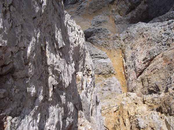 Foto: Datzi / Klettersteig Tour / Rundtour 2. Tage über die Hohe Gamsfeldspitze zur Scheichenspitze ( Biwak ) / Der Blick zurück zum Einstieg des lezten Kletterstück / 08.12.2008 08:23:44