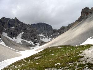 Foto: Datzi / Klettersteig Tour / Rundtour 2. Tage über die Hohe Gamsfeldspitze zur Scheichenspitze ( Biwak ) / Der Blick zum Koppenkarstein beim Einstieg ins Edelgrieß / 07.12.2008 21:00:00