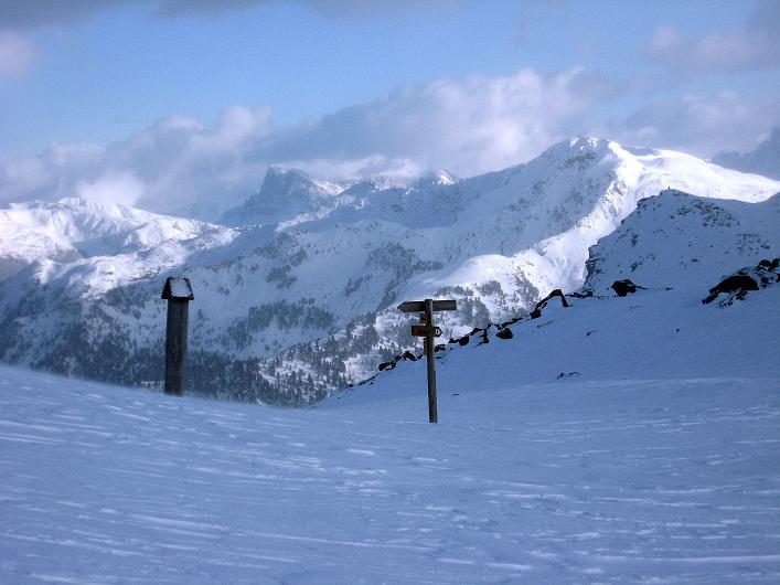 Foto: Andreas Koller / Ski Tour / Vom Durnholzer See auf das Schrotthorn (2590m)  / Von der Schalderer Scharte Blick zum Peitlerkofel (2876 m) / 16.12.2008 01:13:36