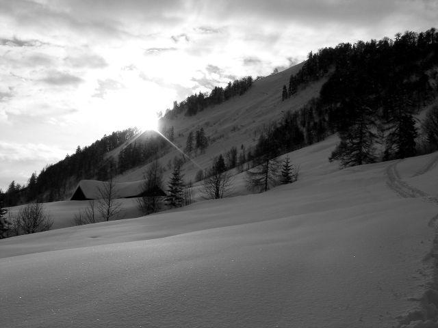 Foto: Manfred Karl / Ski Tour / Vom Satzstein auf das Auhofköpfl / Bei der Alm / 18.12.2008 08:27:42