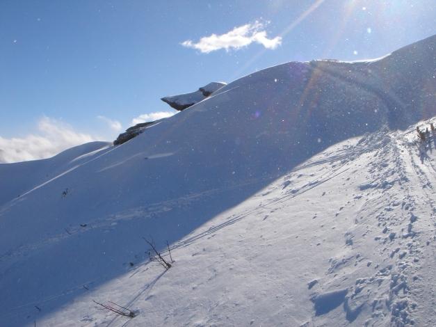 Foto: Manfred Karl / Ski Tour / Zwei leichte Gipfel über dem Kessel der Planneralm / Ausstieg auf den Grat / 18.12.2008 09:26:42
