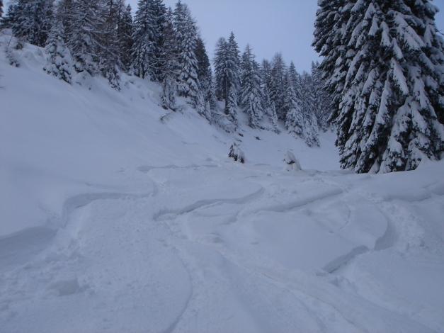 Foto: Manfred Karl / Skitour / Auf einen Hausberg der Salzburger Tourengeher / Eine der vielen Varianten bei der Abfahrt vom Hochthron / 18.12.2008 17:44:25
