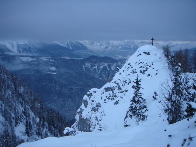 Foto: Manfred Karl / Ski Tour / Jenner, 1874 m / Vogelstein, links davon zieht der Spinnergraben hinunter / 18.12.2008 18:27:52