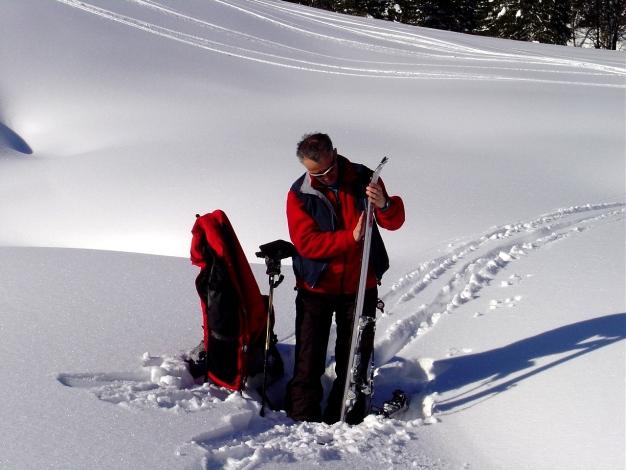 Foto: Manfred Karl / Ski Tour / Hoher First und Dürlstein aus dem Ackersbachgrund / Auffellen im Ackersbachgrund / 20.12.2008 12:39:11