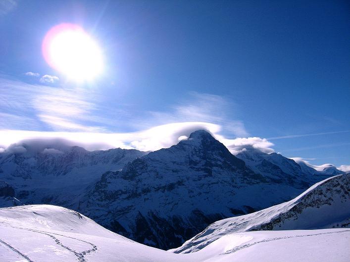 Foto: Andreas Koller / Schneeschuh Tour / Schneeschuh-Trail aufs Faulhorn (2681m) / Föhn über den Berner Eisriesen / 06.01.2009 23:46:38