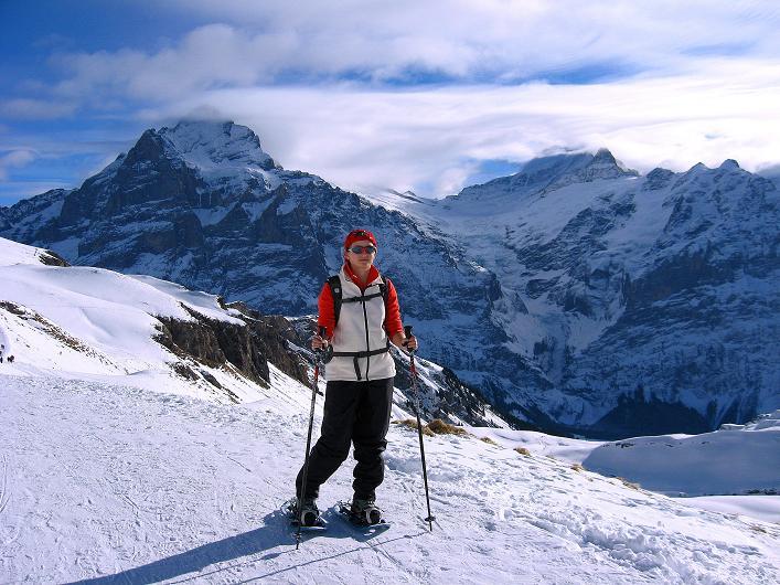 Foto: Andreas Koller / Schneeschuh Tour / Schneeschuh-Trail aufs Faulhorn (2681m) / Wetterhorn (3701 m), Oberer Grindelwaldgletscher, Schreckhorn (4078 m) / 06.01.2009 23:44:37