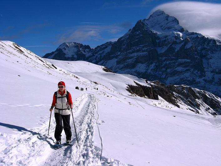 Foto: Andreas Koller / Schneeschuh Tour / Schneeschuh-Trail aufs Faulhorn (2681m) / Beim Anstieg vom First beeindruckt immer wieder der Blick auf das nahe Wetterhorn mit seiner N-Wand (3701 m) / 06.01.2009 23:43:02