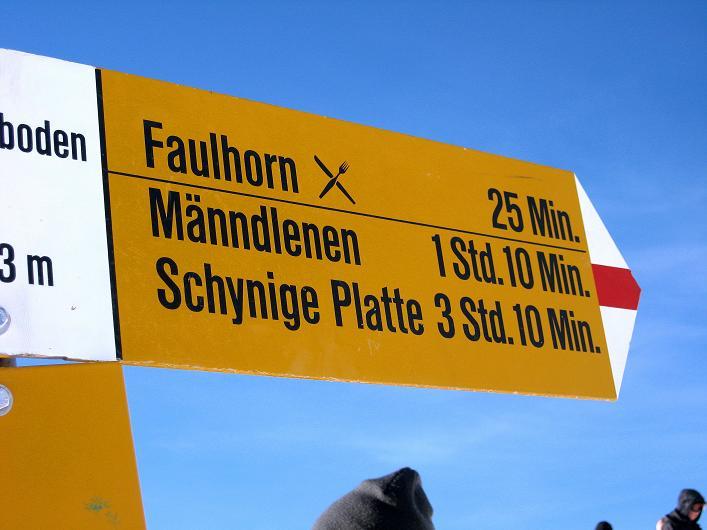 Foto: Andreas Koller / Schneeschuh Tour / Schneeschuh-Trail aufs Faulhorn (2681m) / Gut sichtbarer Wegweiser zum Faulhorn am Gassenboden / 06.01.2009 23:33:50