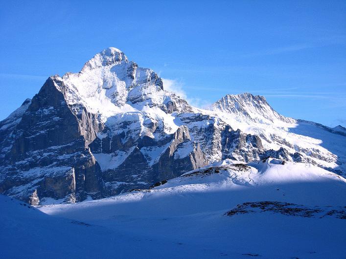Foto: Andreas Koller / Schneeschuh Tour / Schneeschuh-Trail aufs Faulhorn (2681m) / Wetterhorn (3701 m) und Bärglistock (3656 m) / 06.01.2009 23:17:51