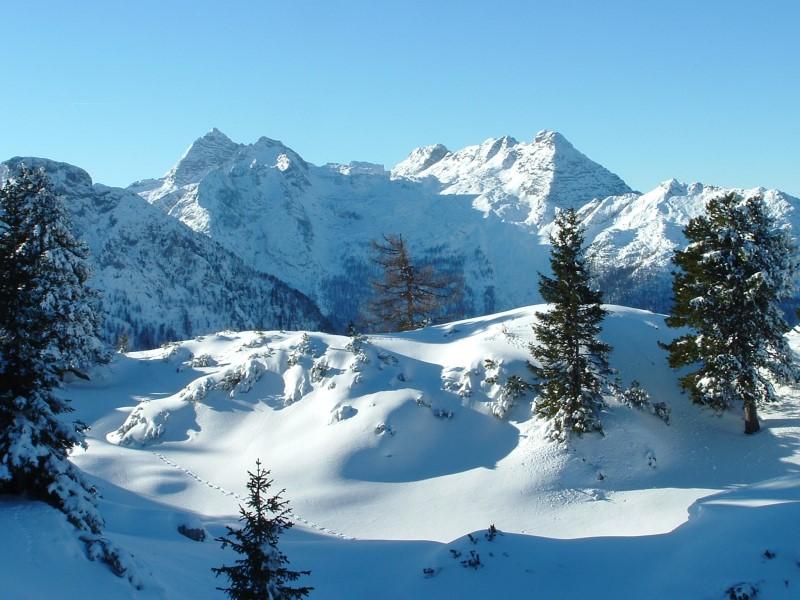 Foto: Johann Kussegg / Ski Tour / Kammerlinghorn (2484m) / Der Blick nach Westen zu den Leoganger Steinbergen mit dem Birnhorn und dem Ebersbergkar / 09.01.2009 11:24:58