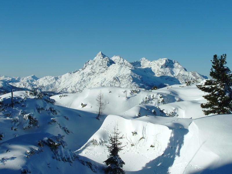 Foto: Johann Kussegg / Ski Tour / Kammerlinghorn (2484m) / nach Nordwest geht der Blick zu den Loferer Steinbergen mit Gr. Ochsenhorn, Reifhorn, Mitterhorn und Breithorn / 09.01.2009 11:27:06