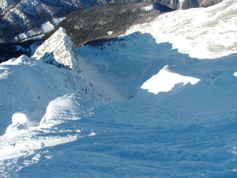 Foto: Johann Kussegg / Ski Tour / Kammerlinghorn (2484m) / am  Kammerlinghorn mit Tiefblick zum Mittereis / 09.01.2009 11:30:33