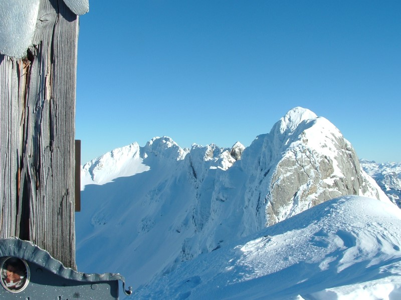Foto: Johann Kussegg / Ski Tour / Kammerlinghorn (2484m) / Der Blick geht den Grat entlang über Hocheiskopf zur Hocheisspitze / 09.01.2009 11:36:22