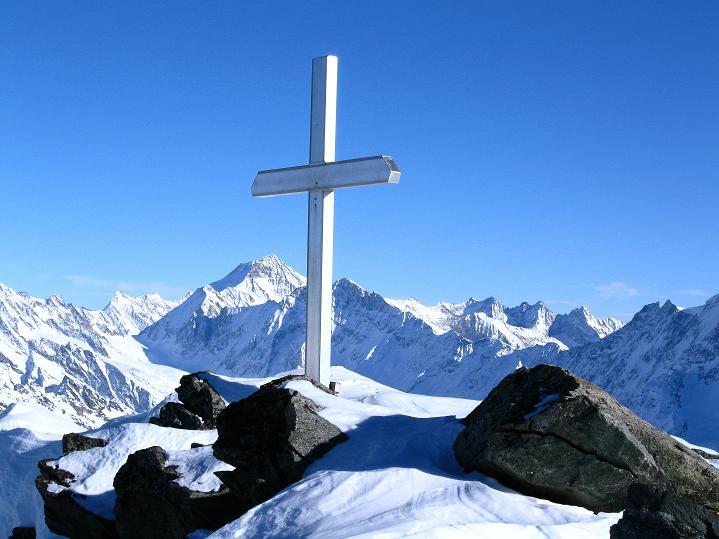 Foto: Andreas Koller / Ski Tour / Von der Lauchernalp aufs Hockenhorn (3293m) / Am Hockenhorn-Gipfel / 12.01.2009 19:31:15