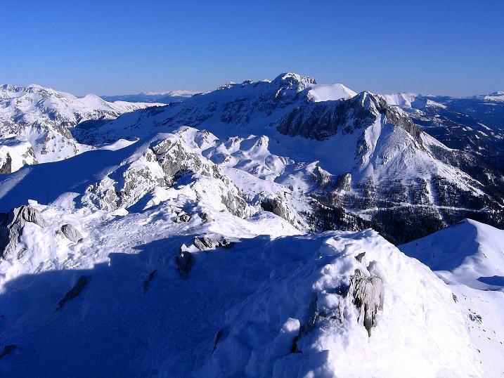 Foto: Andreas Koller / Ski Tour / Rassige Tour aufs Kleine Mosermandl (2538m) / Blick zum Hochfeindkamm (2687 m) / 12.01.2009 19:07:13