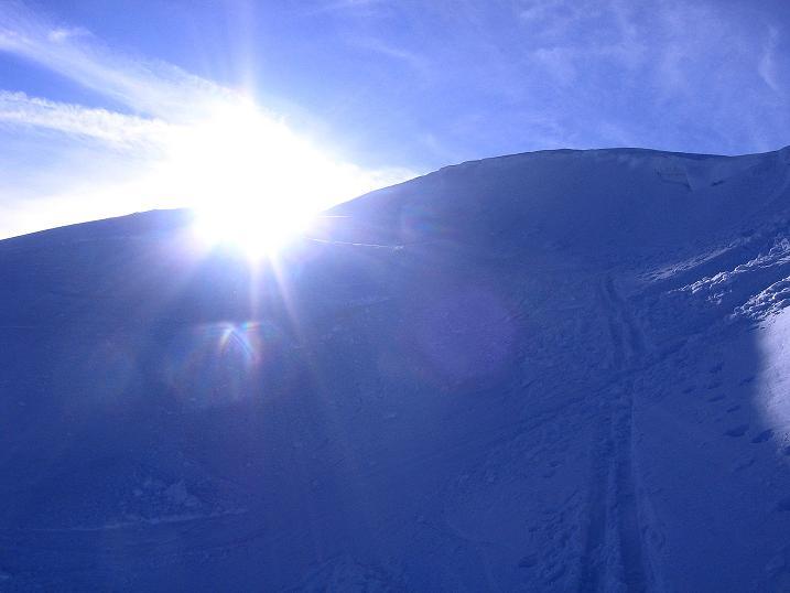 Foto: Andreas Koller / Ski Tour / Durch das Nappental auf die Kräuterin (1919m) / Kurz vor dem Ausstieg aus der steilen O-Flanke / 18.01.2009 23:26:32