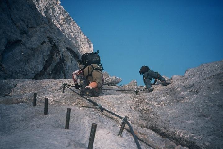 Foto: Manfred Karl / Klettersteig Tour / Johann Klettersteig auf die Dachsteinwarte / Fester Fels und gute Sicherungen auf der großen Rampe / 22.01.2009 21:30:37