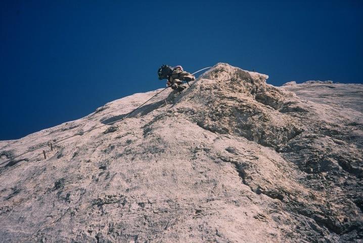Foto: Manfred Karl / Klettersteig Tour / Johann Klettersteig auf die Dachsteinwarte / Quergang vor dem Beginn der großen Platte / 22.01.2009 21:28:20