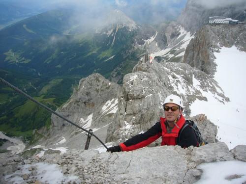 Foto: hofchri / Klettersteig Tour / Irg – Klettersteig auf den Koppenkarstein / Abstieg zum Highlight des Steiges / 20.07.2009 21:50:02