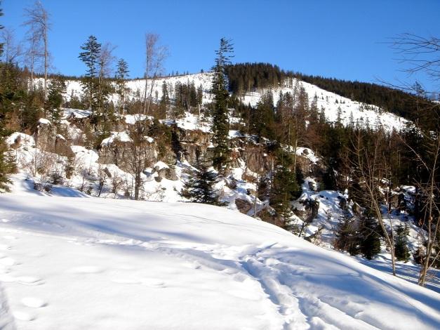 Foto: Manfred Karl / Ski Tour / Grobriedel (1473m) / Felsbarriere als kleine Schlüsselstelle, dahinter der Grobriedel / 27.01.2009 06:41:27