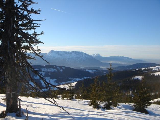 Foto: Manfred Karl / Ski Tour / Grobriedel (1473m) / Freier Blick vom Gipfel Richtung Untersberg und Hochstaufen / 27.01.2009 06:36:20