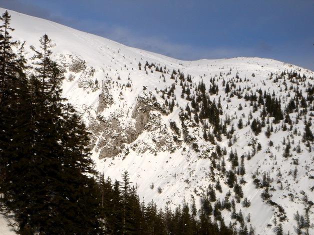 Foto: Manfred Karl / Ski Tour / Zwieselstaufen von Jochberg / Blick vom Gamsknoglanstieg zum Zwiesel: Rechts neben den Felsen fährt man durch die seichte Mulde ab, wenn man die Abfahrtsvariante wählt / 27.01.2009 07:33:42