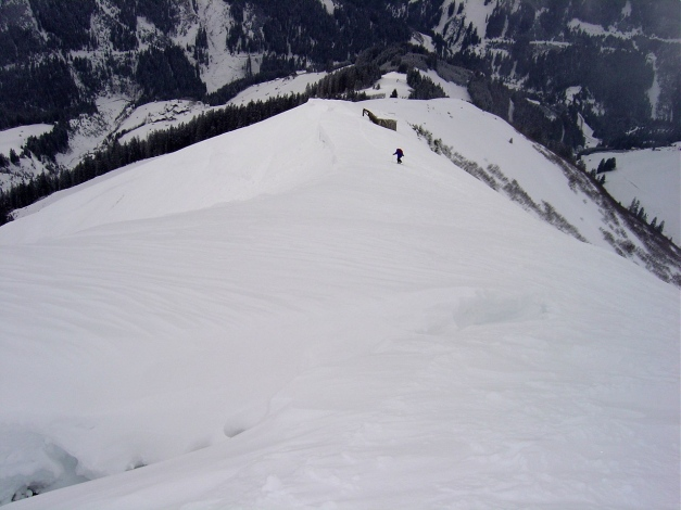 Foto: Manfred Karl / Ski Tour / Joch (2052m) / Kurz unterhalb des Gipfels mit Blick auf den Ausgangspunkt Mitteregg / 28.01.2009 14:25:30